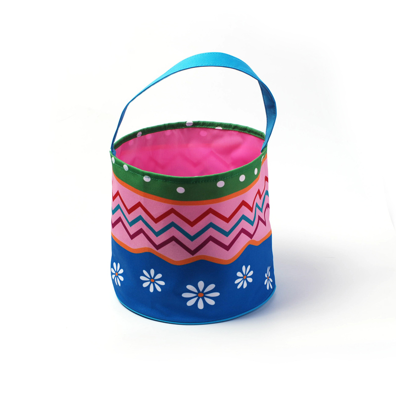 2 Colors Easter Baskets Blanks Can Be Embroidery 100% Canvas Multi-Chevron Buckets Holiday Kids Gifts For Easter Day
