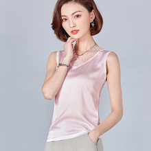 Korean Fashion Silk Women Blouses Lace Mesh back Satin Pink Women Shirts Plus Size XXXL Blusas Femininas Elegante Ladies Tops