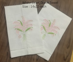 Set Of 12 Handkerchiefs White Linen Hemstitched Tea Towel -14x22