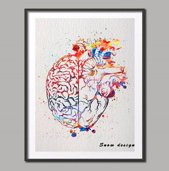 Original watercolor Heart And Brain Balance canvas painting Anatomy Wall art poster print Pictures living room Home Decoration