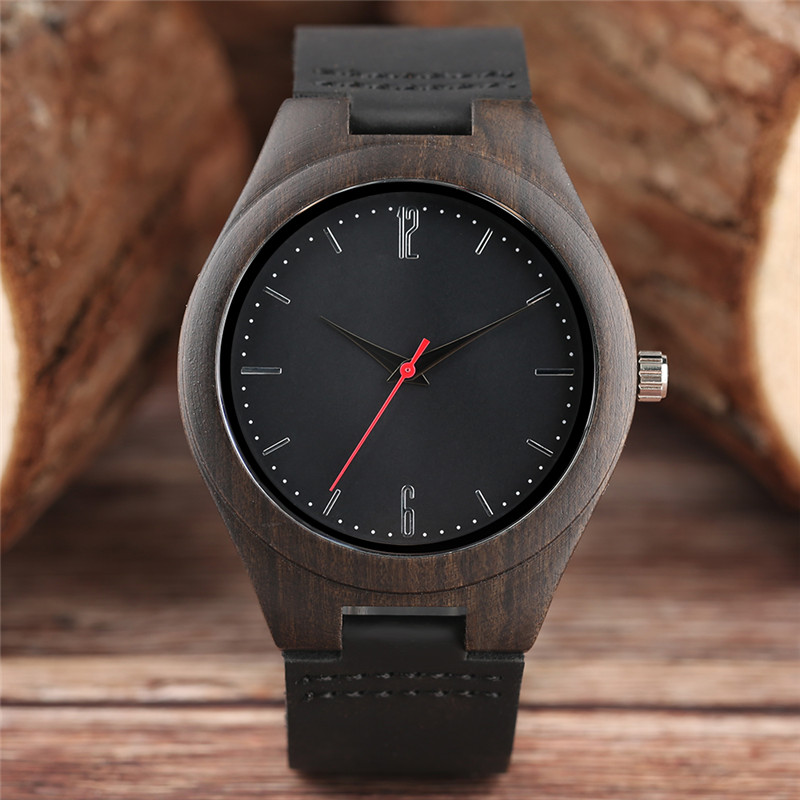 2017 Dark Wooden Watches Luxury Nature Wood Bamboo Quarzt Watch Mens Leather High Quality Male Female Unisex Clock + Gift Bag