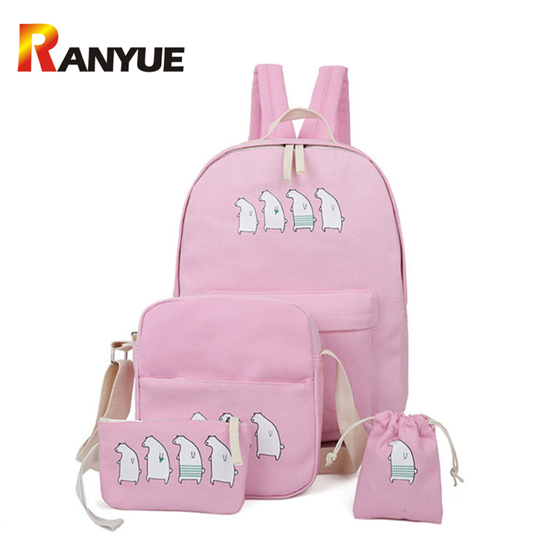 2017 Pink Bear Cartoon Canvas Backpack Women 4Pcs/Set Cute Bagpack School Bags For Teenager Girls Mochila Escolar Drawstring Bag