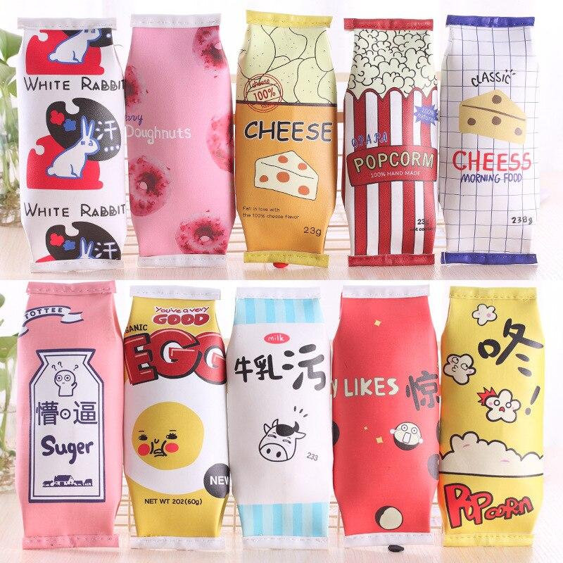 Cartoon Snacks Milk Macaron Style Cute School Pencil Cases Bag Kawaii Novelty Pencilcase Office Supplies Papelaria Escolar