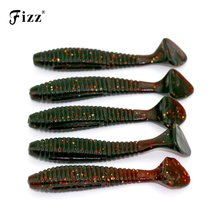 5Pcs 7.5cm 5.5g Freshwater Fishing Lure Soft Rubber T Tail Worm Fake Bait Tackle Accessories