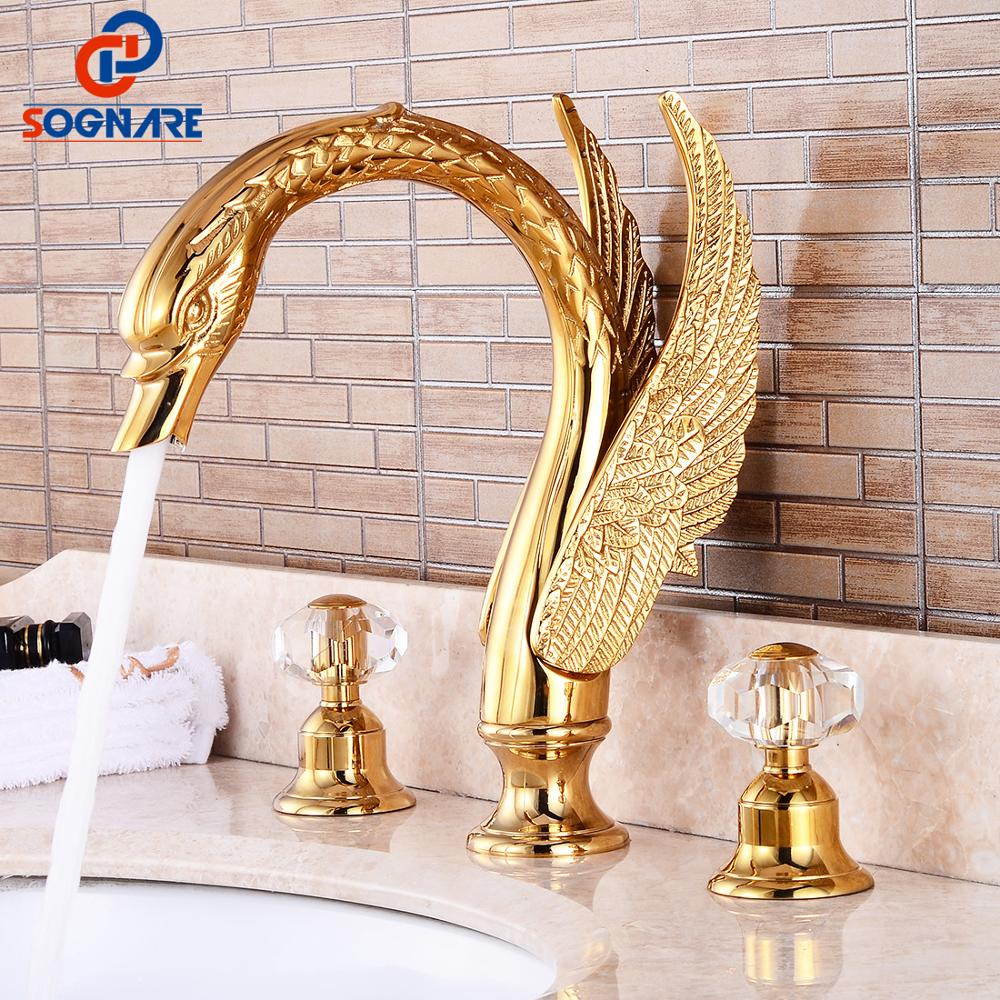 bathroom sink gold faucet luxury widespread sink faucet hot and cold water mixer brass swan faucet mixer sink tap bath faucet
