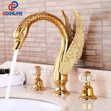Bathroom Sink Gold Faucet Luxury Widespread Sink Faucet Hot And Cold Water Mixer Brass Swan Faucet Mixer Sink Tap Bath Faucet luxury led light waterfall basin sink faucet tap dual handle widespread bathroom tub sink mixer with hot and cold water