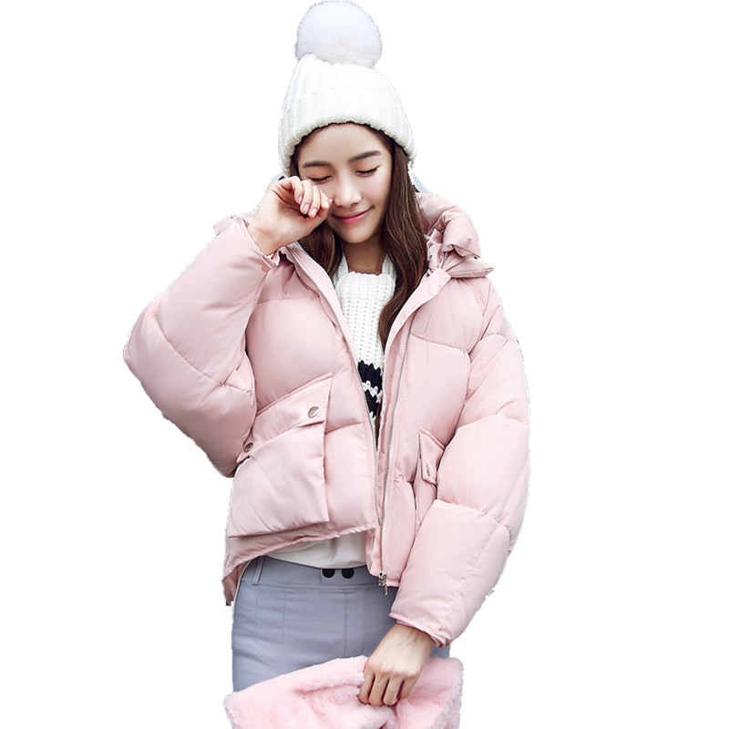 2017 Winter Fashion Women Padded Thick Down Parkas Short Design Cute Cotton Pink Coats Causual Warm Hoodies Loose Jackets 03