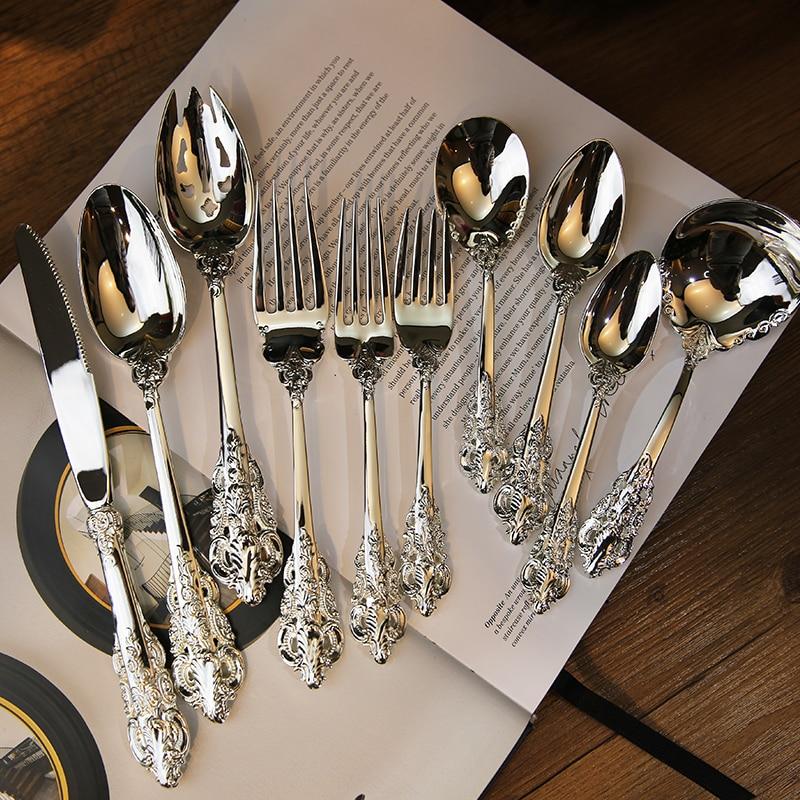 1pc Luxury Western Silver Dinnerware Sets Cutlery Dinner