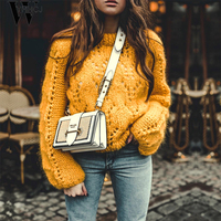 WYHHCJ 2018 winter sweater Hollow out knitting female O ncek lantern sleeve pull femme pollover casual loose trico women jumper
