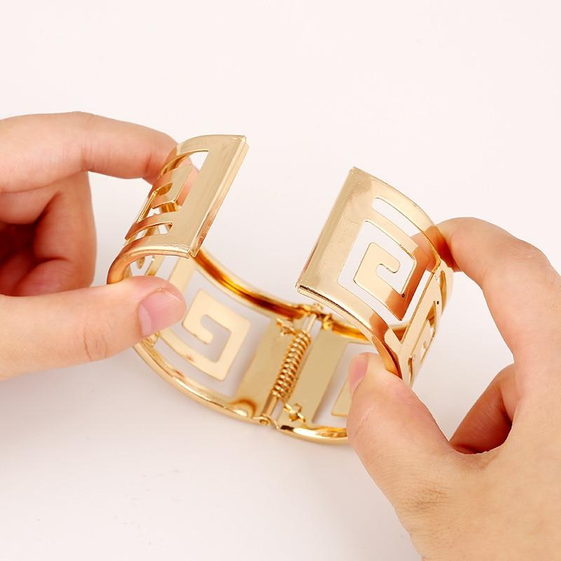 LZHLQ 2019 moe geomeetriline õõnsad metallist käevõrud naistele - Mood ehteid - Foto 3