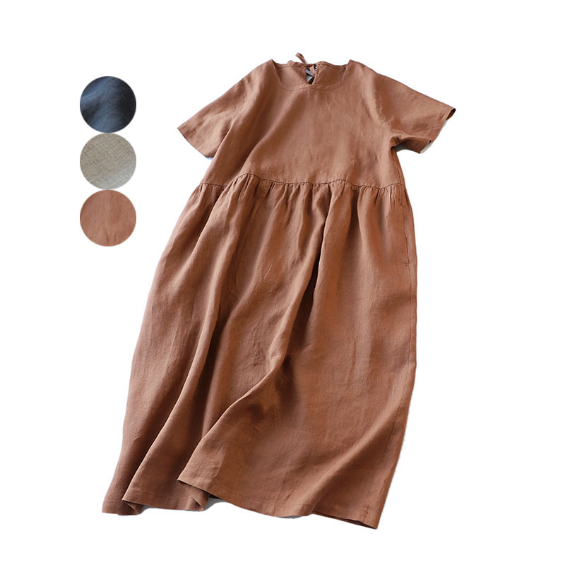 Spring Summer Women Loose Plus Size Mori Girls Brief Comfortable 17 21 Water Washed Linen Dresses