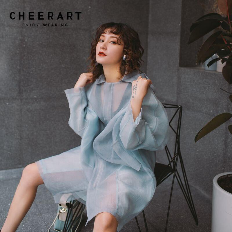 CHEERART Organza Blouse Transparent Long Blouse Cardigan See Through Long Tops Women Pink Blue Blouse With Hood