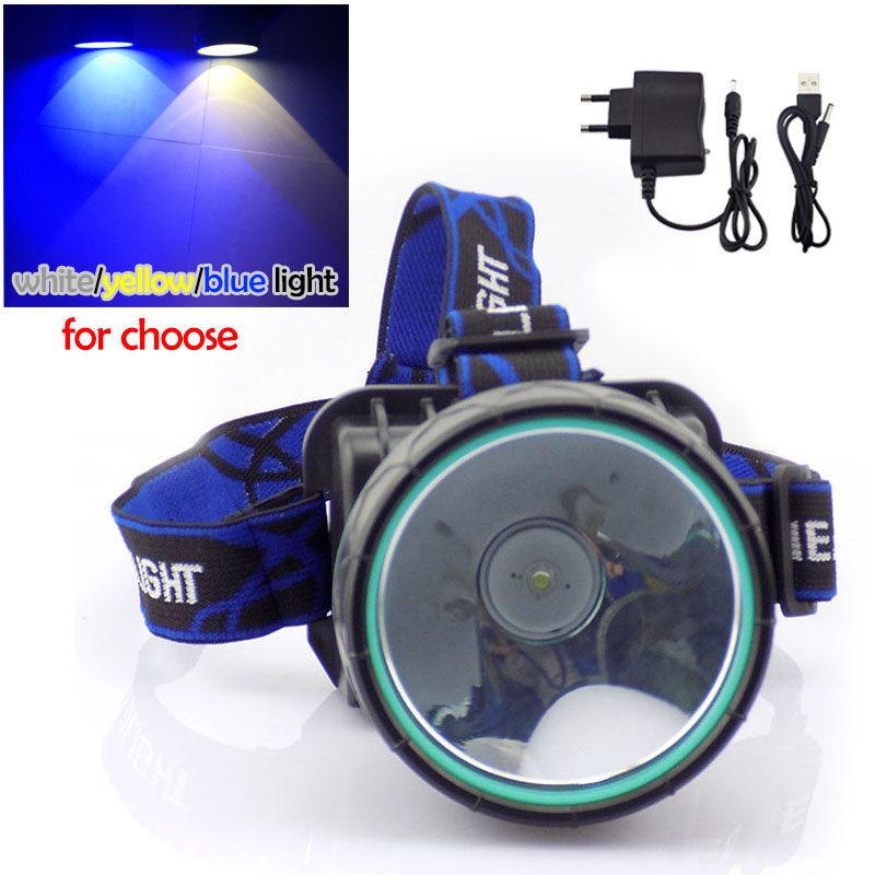 High Power Led Mining Headlamp Light Miner'S Headlamp Head Lamp Torch  White Yellow Blue Fishing Light Rechargeable With Battery