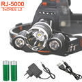 RJ-3L2 Rechargeable Headlamp USB 9000lm boruit  Waterproof 18650 Led head Lamp head Light BY 18650 Battery  Usb Cable