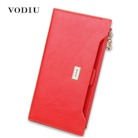 2017 Luxury Genuine Leather Women Long Slim Wallet Zipper Female Purse Brand Clutch Phone Coin Photo