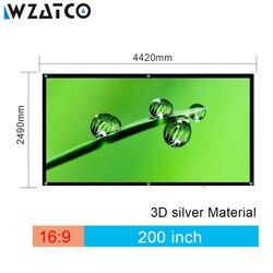 WZATCO 150 180 200 250 300 3D экран 16:9 складной 3D Серебряный Простой Большой размер киноэкран ткань для XGIMI H2 H1 проектор