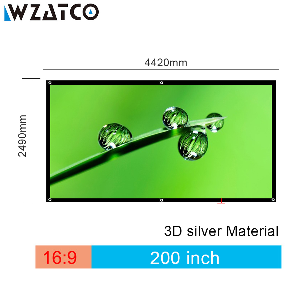 WZATCO Screen 200 inch 16:9 Foldable 3D Silver Simple Large Size Cinema Screen Fabric for Projector with Black Border and Eyelet 2018 baby girl dress summer unicorn costume for kids clothing brand children party dresses cute dog girls clothes princess dress