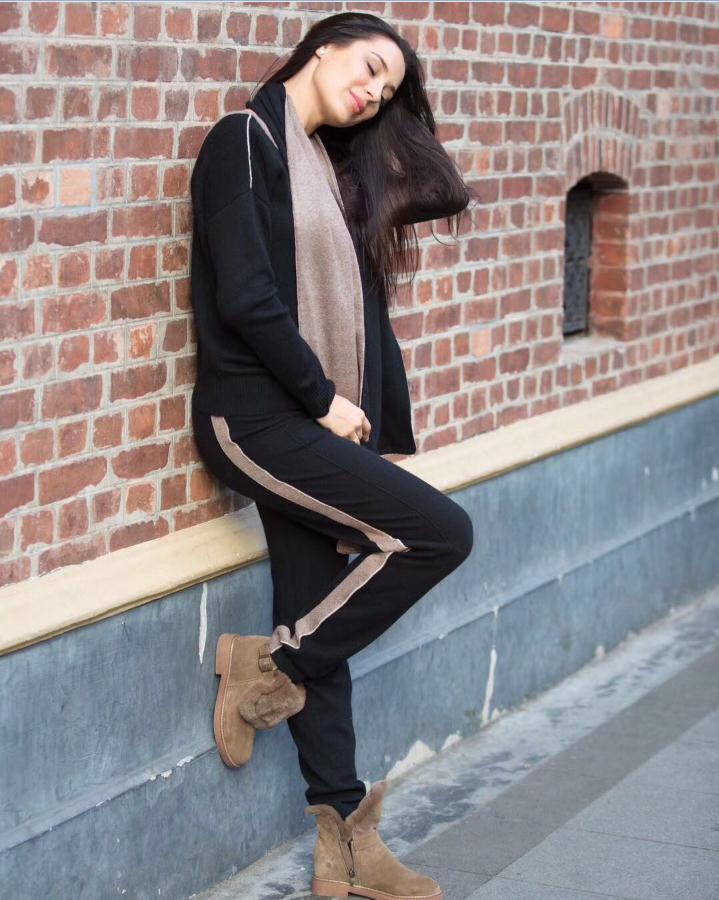 V Laine aprioct Chaud Twist Costumes Élastique Loisirs Chandail Black Velours Cou Tricot Pantalon Vison Cachemire Wq168 De Profonde pièce Deux Ensembles 0wC5qqWR