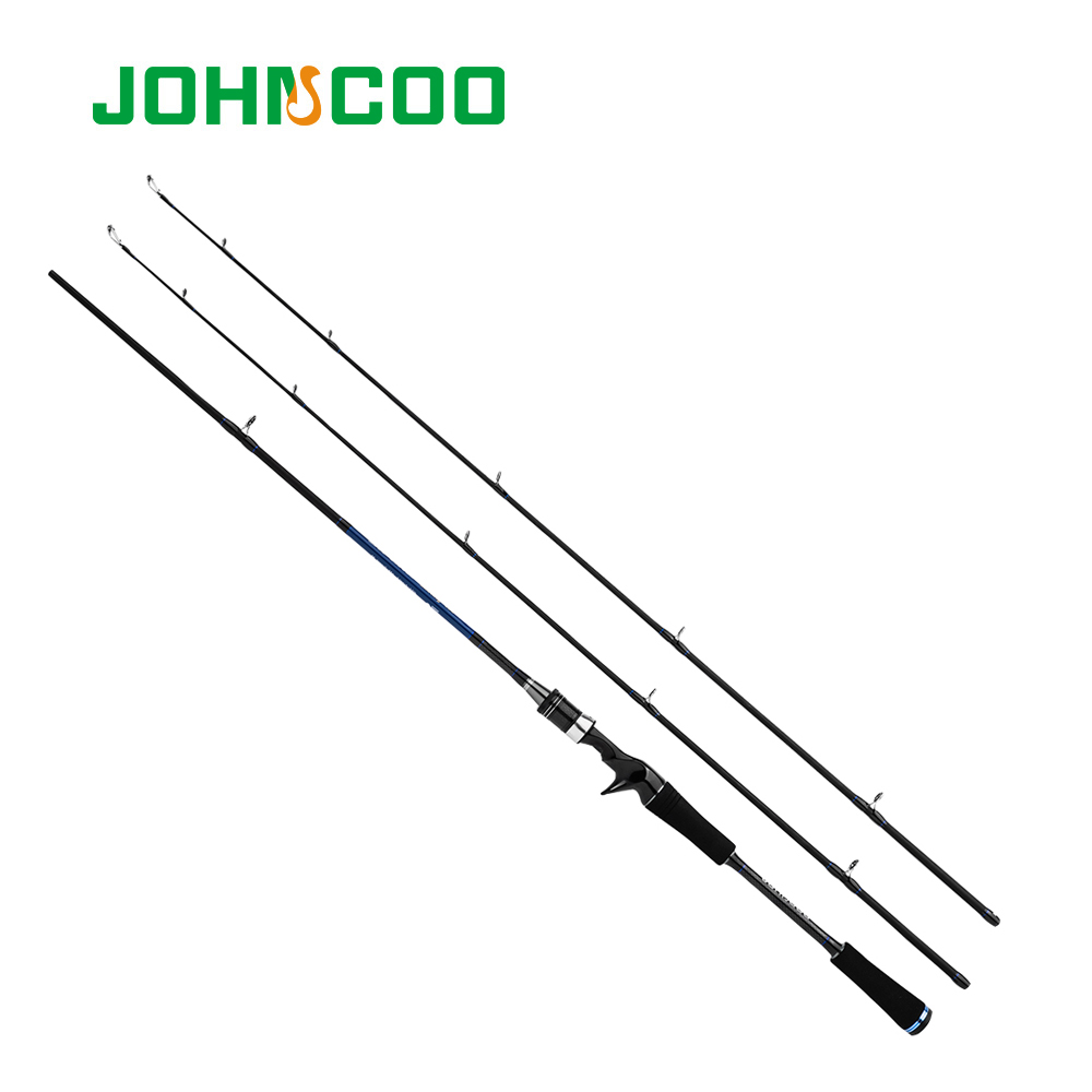 JOHNCOO 1.8m/2.1m New Carbon Fiber Rod Fast Action M MH Power Casting Fishing Rod Travel Rod 2 Sections Lure Fishing Rod