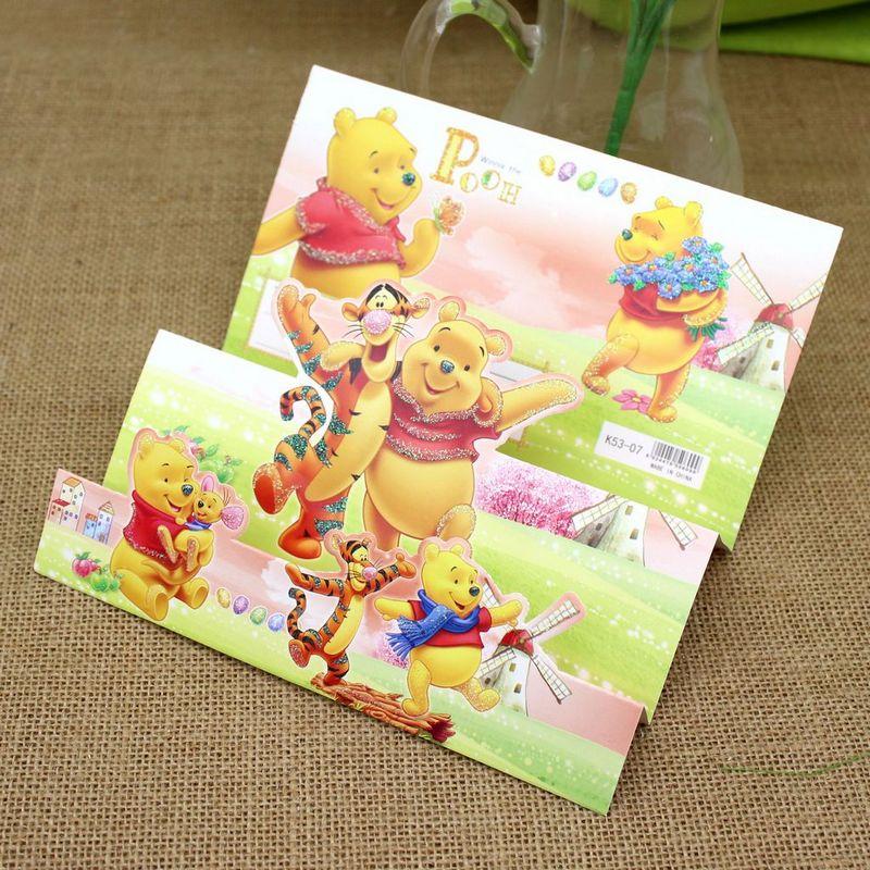 (9 pieces/lot)Hot Sale Cartoon Hello Kitty/Doraemon/Mickey/Snow White Holdiy Paper Invitation Card Party Birthday Greeting Cards