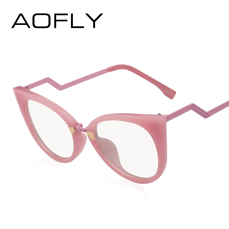 1860d7d742a AOFLY Brand Design Women Cat Eye Reading Clear Lens Optical Eyeglasses  Vintage Plain Glasses Female Fashion