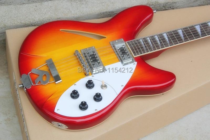 New Arrival Electrics Guitar 12 Strings Cherry Sunburst Semi-Hollow Maple Body For Sale new arrival electrics guitar 12 strings cherry sunburst semi hollow maple body for sale