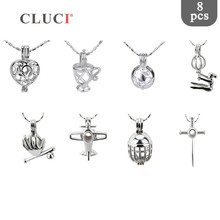 CLUCI 8pcs/set Silver Plated Plane Shaped Charms Pendant for Women Jewelry Making Wish Pearl Cage Locket Jewelry MPC010SB
