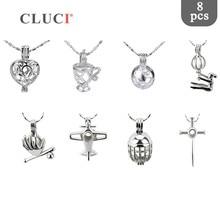 Cluci 8 pçs/set banhado a prata em forma de avião encantos pingente para mulher jóias fazendo desejo pérola gaiola medalhão jóias mpc010sb