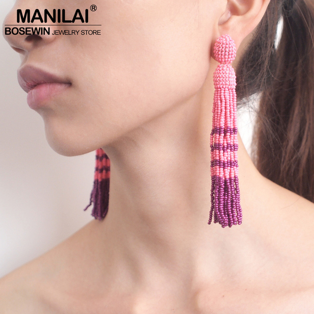 MANILAI богемные многоцветные смолы серьги из бисера с кисточкой Длинные серьги Модные ювелирные изделия выразительный бисер висячие серьги