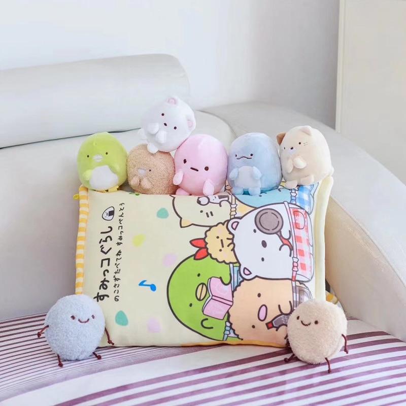 лучшая цена Sumikko Gurashi Plush Pillow Cute 8pcs Plush Bear dinosaur Japanese Anime Figure San-X Corner Bio Cartoon Soft Doll Girls Gift