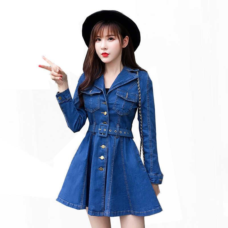 Voobuyla осеннее джинсовое платье с отложным воротником женские элегантные пояса короткие синие джинсовые платья повседневные праздничные женские пляжные платья