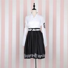 Japanese Bushido Women Dress 2 Pieces Coat and Dress Long Large Sleeve Cuff Japanese Girl Robe Crane Print White and Black