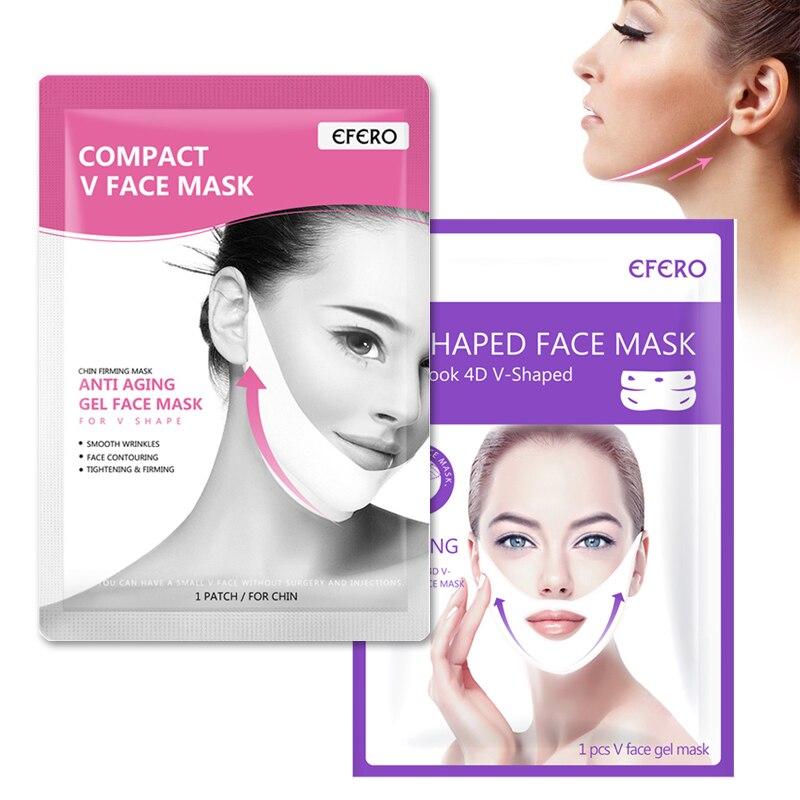 2Pcs Lifting Face Mask Slim Face Chin Neck Peel-off Ear Hook 4D V-Shaped Lift Up Gel Face Masks Bandage Firming Skin Care Tool