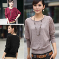 2016 Autumn Sweater Women Elegant Batwing Lace Hollow Sleeve Sweater and pullover Design Crew Neck Loose Casual Sweater