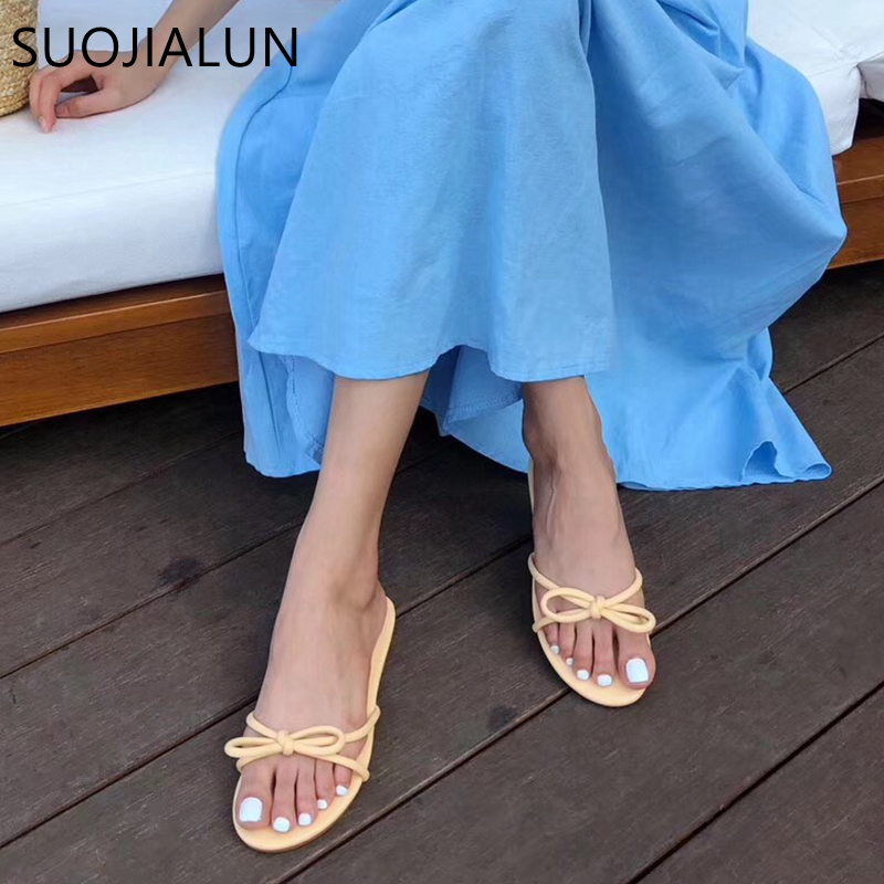 SUOJIALUN 2019 Candy Colors Women Slippers Summer Open Toe Flat Slipper Casual Femal Beach Outdoor Sandal Flip Flops Shoes Mjue