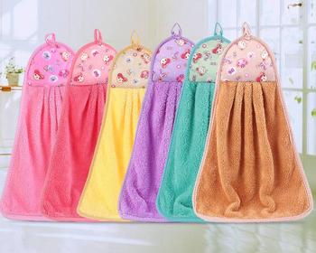Hanging Hand Towels Handkerchief Suction Water Thickening Coral Velvet Bathroom Kitchen Rag Thick Towel Candy Colors