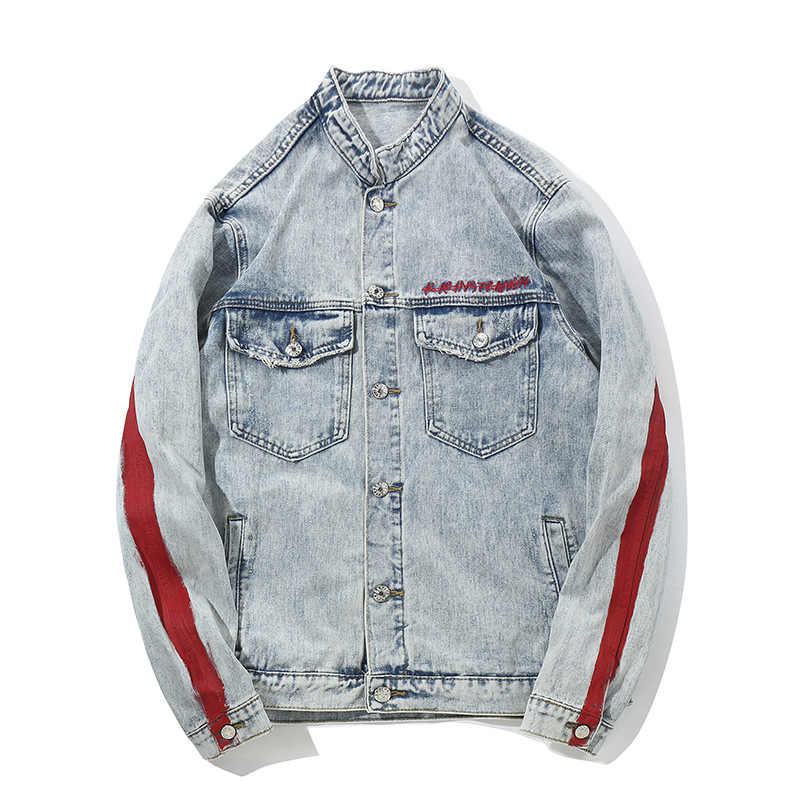 Harajuku Dragon แจ็คเก็ตกางเกงยีนส์ Streetwear Hip Hop ผู้ชาย Vintage ล้าง Denim แจ็คเก็ต 2018 ฤดูใบไม้ร่วงสีแดงลาย Denim แจ็คเก็ต