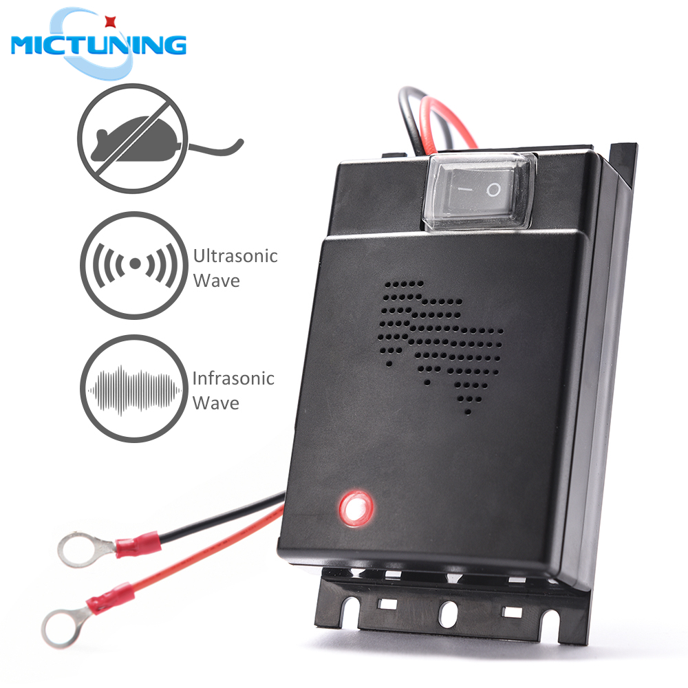 MICTUNING Car Mice Repeller Under Hood Animal Repeller Ultrasonic Rodent Repellent Pest Control Deterrent Device Chases Squirrel