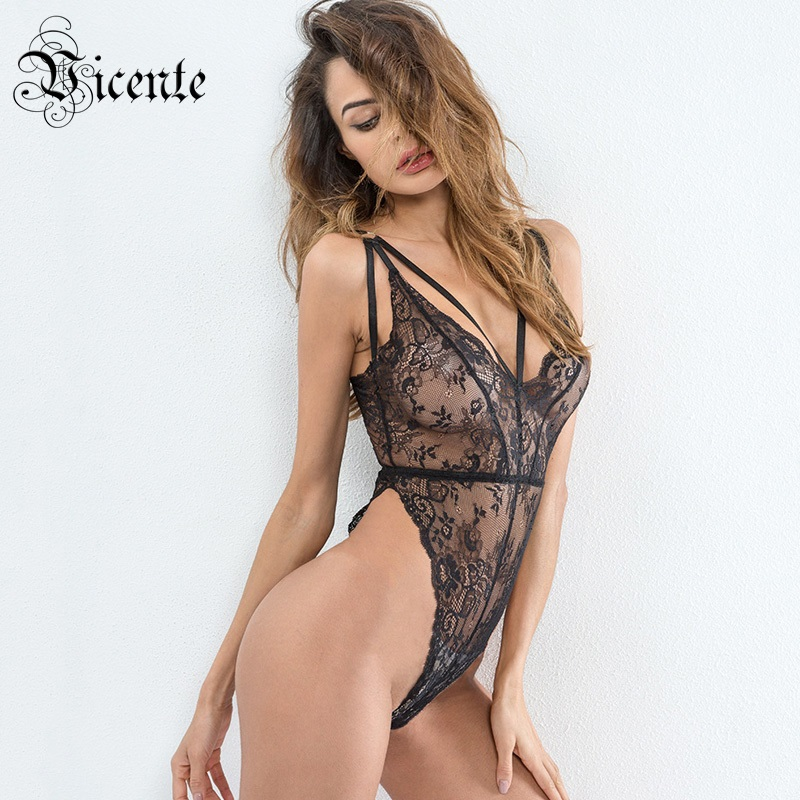 Free Shipping! 2018 New Fashion Sexy Sheer Floral Lace Sexy V-neck Adjustable Straps Wholesale Women Swimsuit Skinny Bodysuit