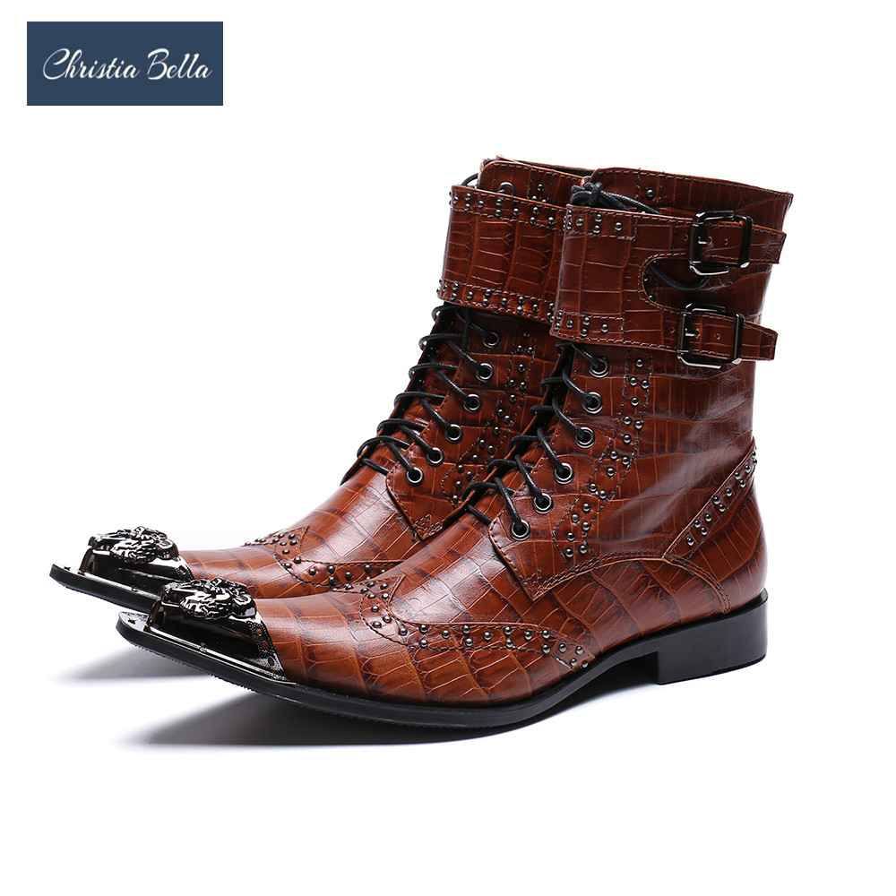 Christia Bella Luxury British Style Men Mid Calf Boots Genuine Leather Motorcycle Cowboy Boots Formal Men Dress Rivets Shoes british style splicing and buckle design mid calf boots for men