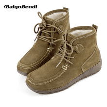 Clearance sale ! Big Size 41 Woman Cow Suede Leather Super Warm Boots  Ladies Snow Ankle Winter Plush Cotton Shoes