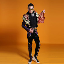 Fashion Mulitcolor Mosaic Men s Jacket Pants Stage Show Performance Nightclub Wear Outfit Clothing Male Ds