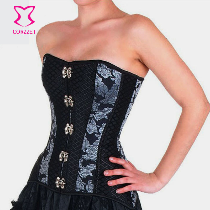 Black Silver Brocade Ring Buckle Steel Boned Corset Gothic Waist Slimming Overbust Corsets and Bustiers Burlesque Women Corselet