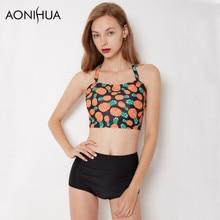 AONIHUA Dream of Midsummer | Fruit Pineapples print Bikini Set for Women High Waist neck Halter Swimwear Crop top Swimsuits 1915 skeleton hand print halter neck top