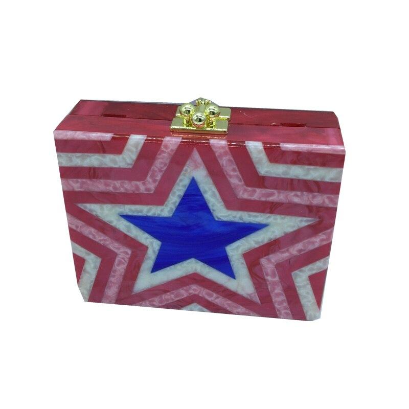 Nueva red star accrylic caja de acrílico embrague bolsos de noche para la fiesta