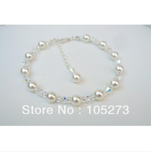 Whole Handmade By Crystal Natural Freshwater Pearl Bridal Bracelet Bridesmaids Wedding Jewellery 4 8mm New Free Shipping In Strand Bracelets From