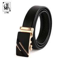 LFMB Top Cow Leather Belts Fashion Business Gray Alloy Buckle Belt Men Brand Casual Strap