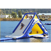 Inflatable triangle slide water toy mobile sea rock climbing slide water park equipment