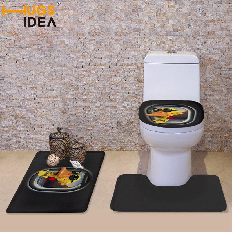 HUGSIDEA 3pcs/set Fashion Frog Sika Deer Toilet Seat Covers Black Household Pedestal Rug Bath Mat Lid Toilet Seat Covers Set