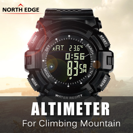NORTH EDGE Men Sports Fishing Altimeter Barometer Thermometer Weather Forecast Pedometer Watches Digital Hiking Climbing Watch ezon multifunction sports watch montre hiking mountain climbing watch men women digital watches altimeter barometer reloj h009